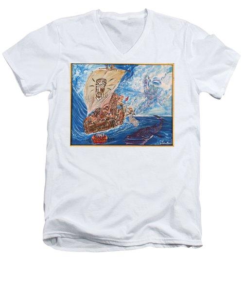 Friggin In The Riggin - Kon Tiki Expedition Men's V-Neck T-Shirt