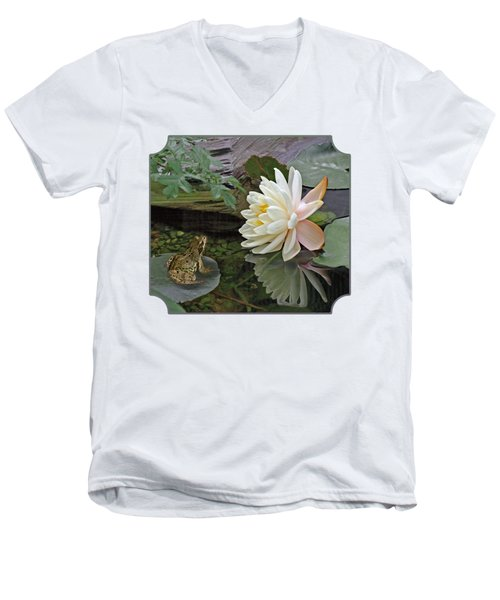 Frog In Awe Of White Water Lily Men's V-Neck T-Shirt by Gill Billington