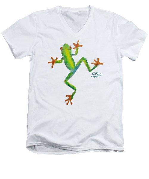 Red Eyed Tree Frog By Jan Marvin Men's V-Neck T-Shirt