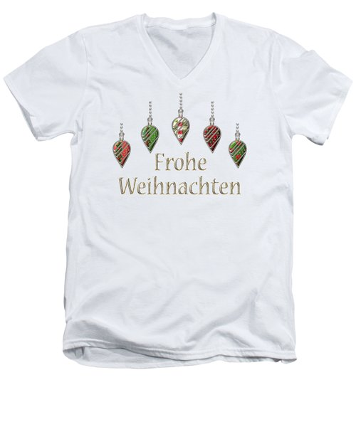 Frohe Weihnachten German Merry Christmas Men's V-Neck T-Shirt by Movie Poster Prints