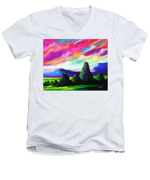 Men's V-Neck T-Shirt featuring the painting From A Distance by Anthony Mwangi