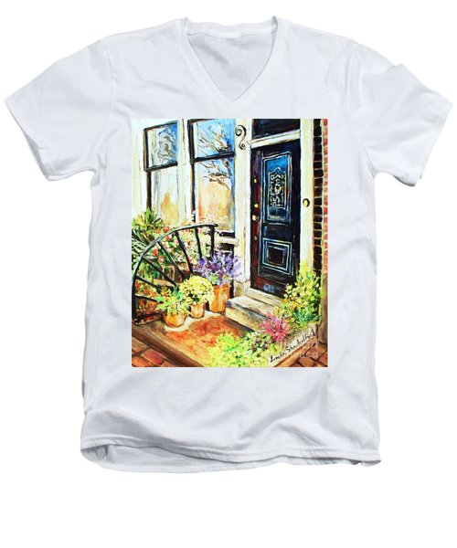 Men's V-Neck T-Shirt featuring the painting Front Porch by Linda Shackelford