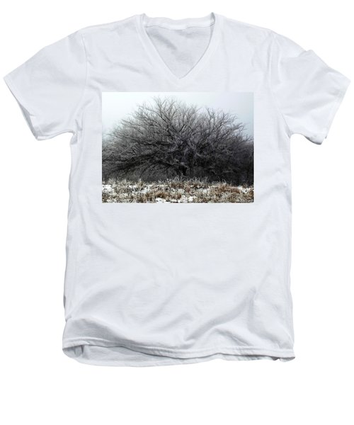 Men's V-Neck T-Shirt featuring the photograph Frosted Elm by Shelli Fitzpatrick