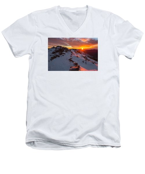 Frosty Alpine Sunset Men's V-Neck T-Shirt