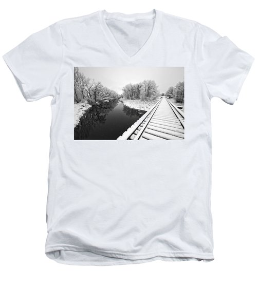 Men's V-Neck T-Shirt featuring the photograph Frosty Morning On The Poudre by James Steele