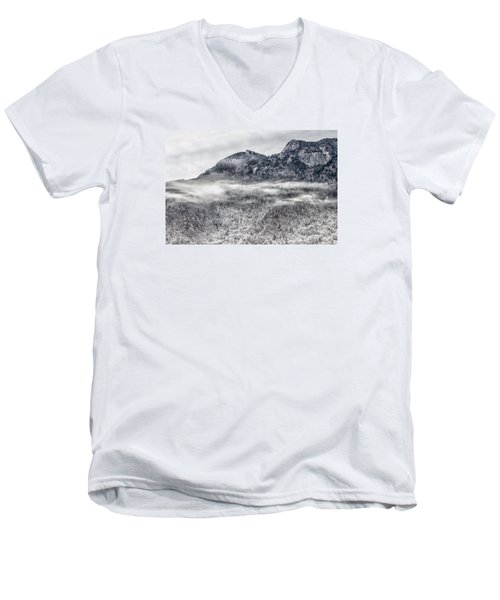 Snowy Grandfather Mountain - Blue Ridge Parkway Men's V-Neck T-Shirt