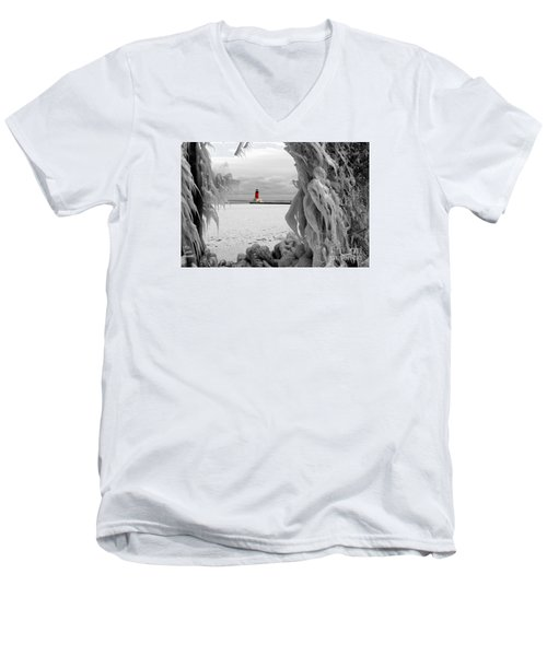 Men's V-Neck T-Shirt featuring the photograph Frozen In Time - Menominee North Pier Lighthouse by Mark J Seefeldt