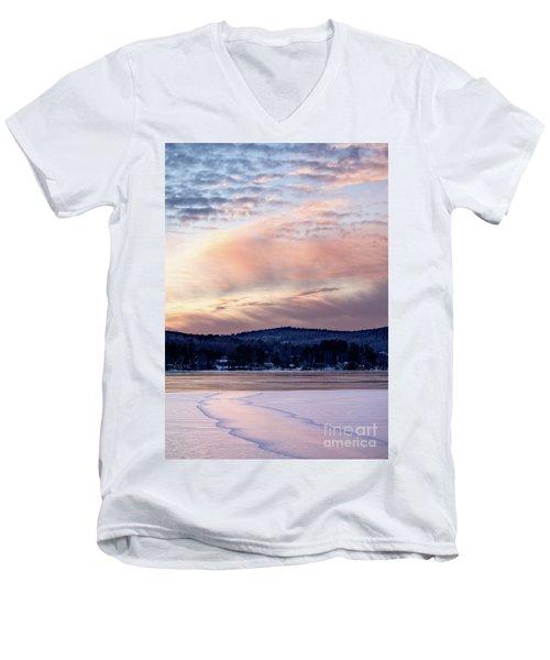 Frozen Lake Sunset In Wilton Maine  -78096-78097 Men's V-Neck T-Shirt