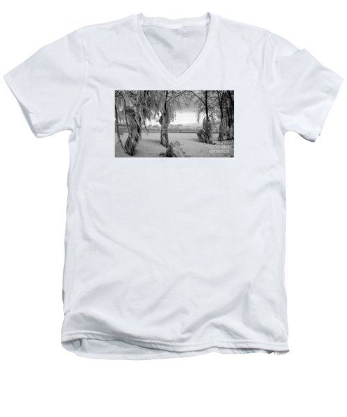 Men's V-Neck T-Shirt featuring the photograph Frozen Landscape Of The Menominee North Pier Lighthouse by Mark J Seefeldt