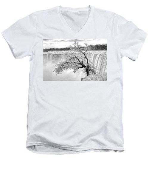 Frozen Tree Near Niagara Falls Men's V-Neck T-Shirt by Alex Galkin