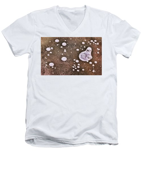 Men's V-Neck T-Shirt featuring the photograph Frozen Water Drops Abstract by Gary Slawsky