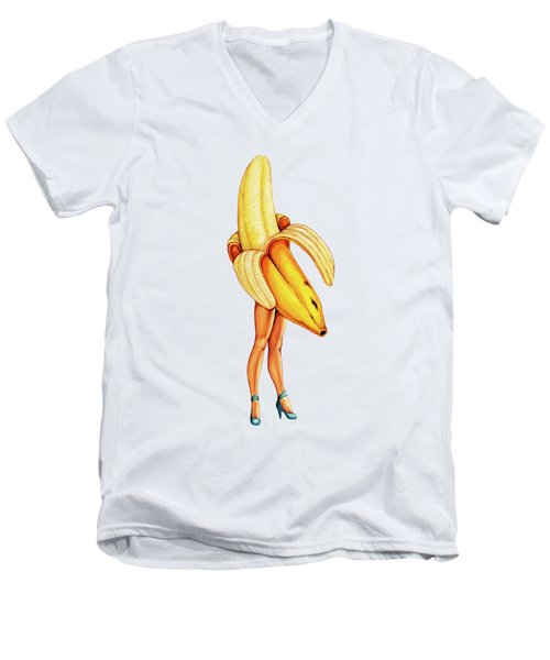 Fruit Stand - Banana Men's V-Neck T-Shirt by Kelly Gilleran
