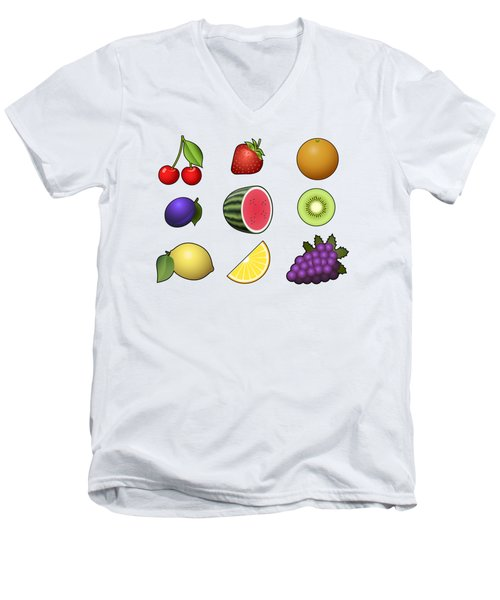 Fruits Collection Men's V-Neck T-Shirt by Miroslav Nemecek