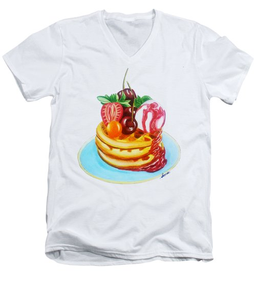 Fruity Waffles Served With Ice Cream And Strawberry Sauce Men's V-Neck T-Shirt by Sonja Taljaard