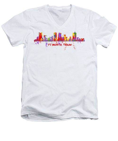 Ft Worth Tx Skyline Tshirts And Accessories Art Men's V-Neck T-Shirt by Loretta Luglio