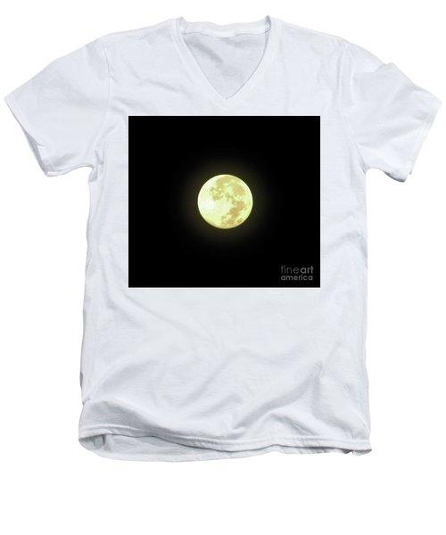 Full Moon August 2014 Men's V-Neck T-Shirt by D Hackett