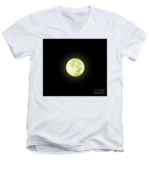 Full Moon August 2014 Men's V-Neck T-Shirt