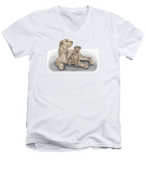 Men's V-Neck T-Shirt featuring the drawing Full Of Promise - Irish Wolfhound Dog Print Color Tinted by Kelli Swan