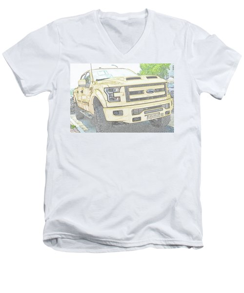 Men's V-Neck T-Shirt featuring the photograph Full Sized Toy Truck by John Schneider
