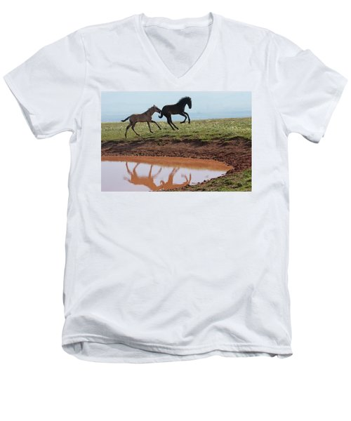 Fun In The Rockies- Wild Horse Foals Men's V-Neck T-Shirt