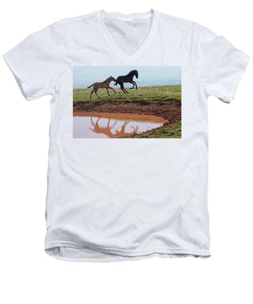 Fun In The Rockies- Wild Horse Foals Men's V-Neck T-Shirt
