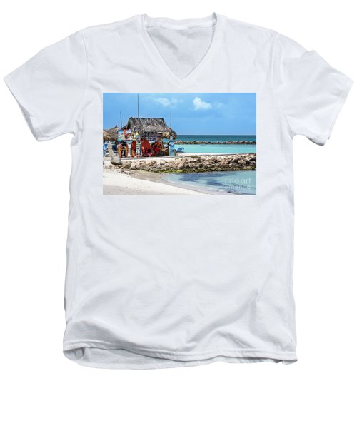 Fun In The Sun Men's V-Neck T-Shirt by Judy Wolinsky