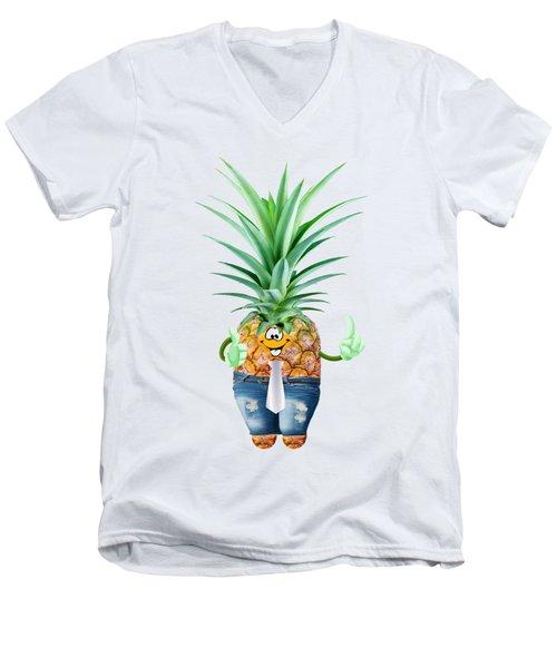 Fun Pineapple  Men's V-Neck T-Shirt by Elena Nikolaeva