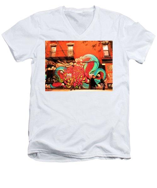 Funky Brooklyn Fire Escape  Men's V-Neck T-Shirt by Funkpix Photo Hunter