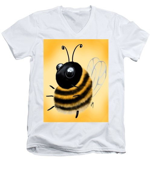 Men's V-Neck T-Shirt featuring the painting Funny Bee by Veronica Minozzi