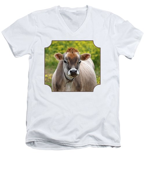 Funny Jersey Cow -square Men's V-Neck T-Shirt by Gill Billington
