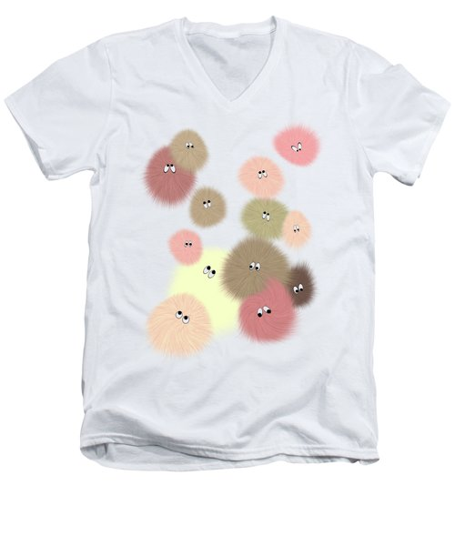 Men's V-Neck T-Shirt featuring the digital art Fuzz Balls by Methune Hively
