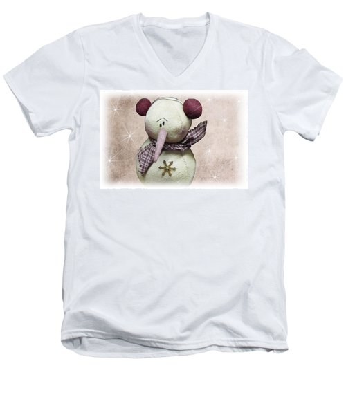 Fuzzy The Snowman Men's V-Neck T-Shirt