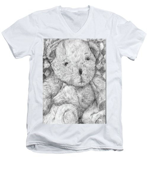Men's V-Neck T-Shirt featuring the drawing Fuzzy Wuzzy Bear  by Vicki  Housel