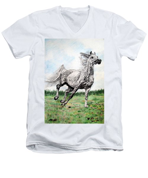 Men's V-Neck T-Shirt featuring the drawing Galloping Arab Horse by Melita Safran
