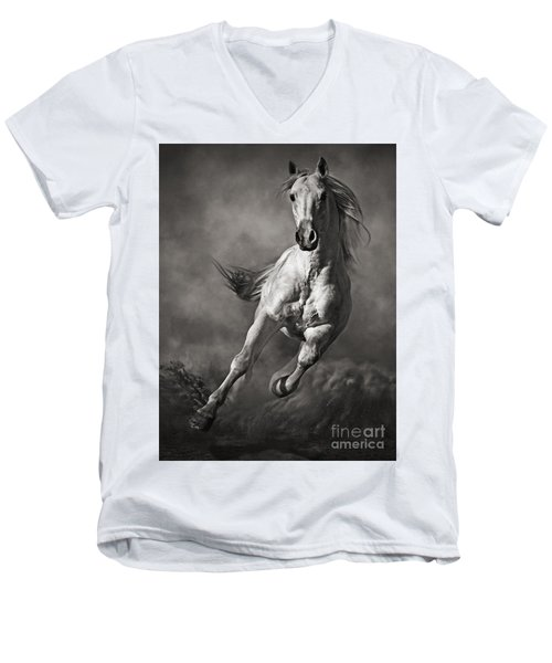 Galloping White Horse In Dust Men's V-Neck T-Shirt