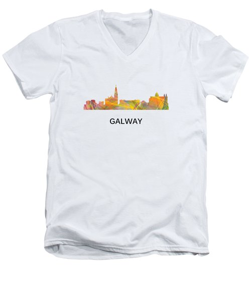 Galway Ireland Skyline Men's V-Neck T-Shirt