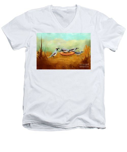 Gambel's Quail On Parade Men's V-Neck T-Shirt