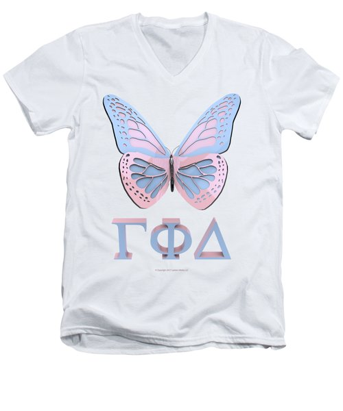 Gamma Butterfly Wings 3d Men's V-Neck T-Shirt