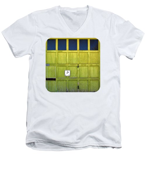 Men's V-Neck T-Shirt featuring the photograph Garage Door by Ethna Gillespie