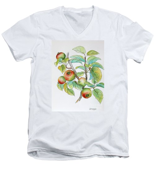 Men's V-Neck T-Shirt featuring the painting Garden Apples Sketch by Inese Poga