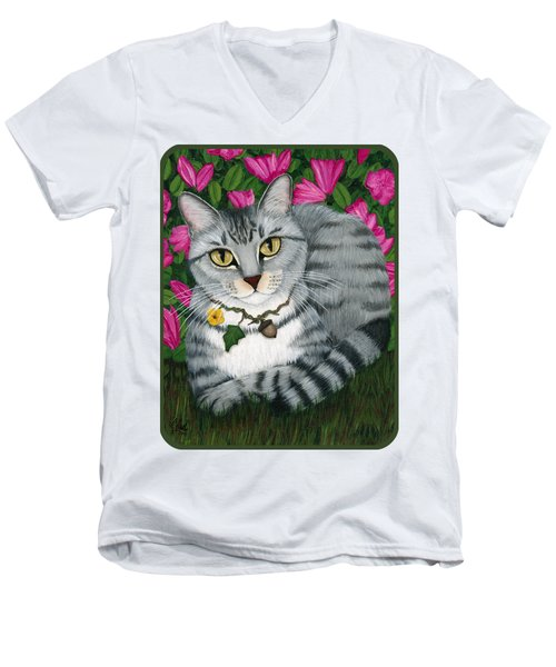 Men's V-Neck T-Shirt featuring the painting Garden Cat - Silver Tabby Cat Azaleas by Carrie Hawks