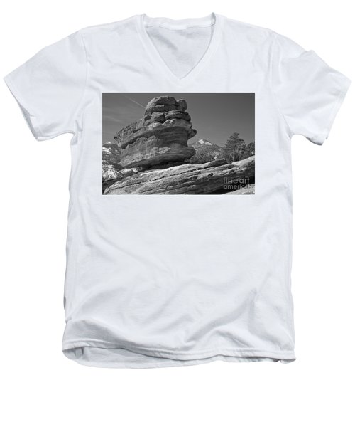 Men's V-Neck T-Shirt featuring the photograph Garden Of The Gods Balanced Rock Black And White by Adam Jewell