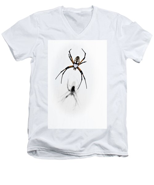Men's V-Neck T-Shirt featuring the photograph Garden Spider With Shadow by Tamyra Ayles