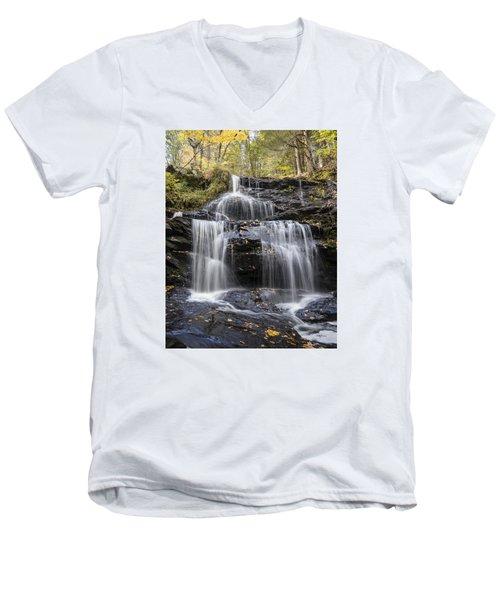 Men's V-Neck T-Shirt featuring the photograph Garwin Falls, Wilton, Nh by Betty Denise