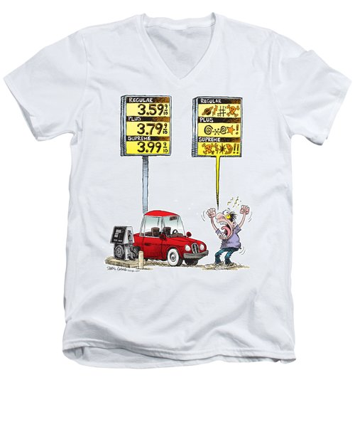 Men's V-Neck T-Shirt featuring the drawing Gas Price Curse by Daryl Cagle