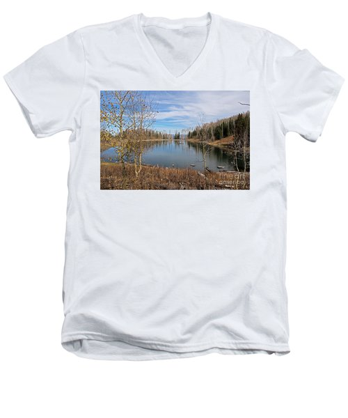 Gates Lake Men's V-Neck T-Shirt by Cindy Murphy - NightVisions
