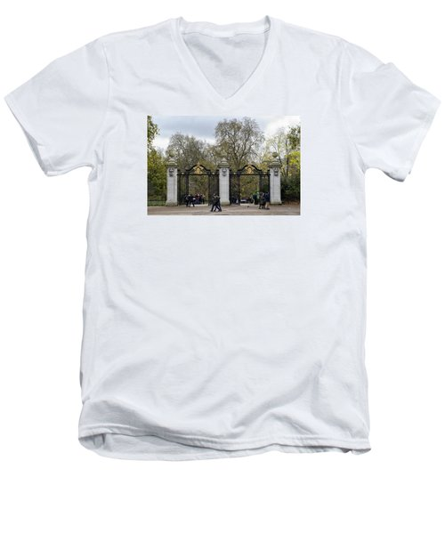 Men's V-Neck T-Shirt featuring the photograph Gates To St James Park by Shirley Mitchell