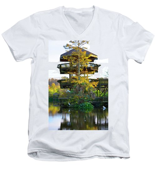 Gator Tower Men's V-Neck T-Shirt by Josy Cue