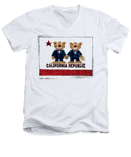 Gay Marriage In California Men's V-Neck T-Shirt