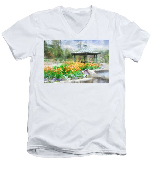 Men's V-Neck T-Shirt featuring the digital art Gazebo With Tulips by Francesa Miller